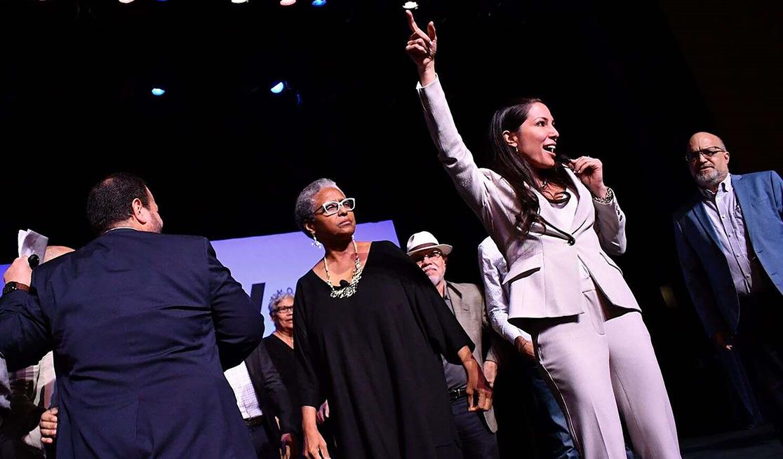 Movimiento Victoria Ciudadana rally, Ana Irma Rivera Lassén, recently elected Senator for the MVC (left) and Alexandra Lúgaro, MVC candidate for governor (center), who got 14% of the vote with author, Rafael Bernabe (right).