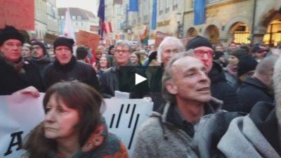 Anti-AfD demonstration in Münster, February 7, 2020. (video: Bernhard Brämswig (vimeo.com/390177013)