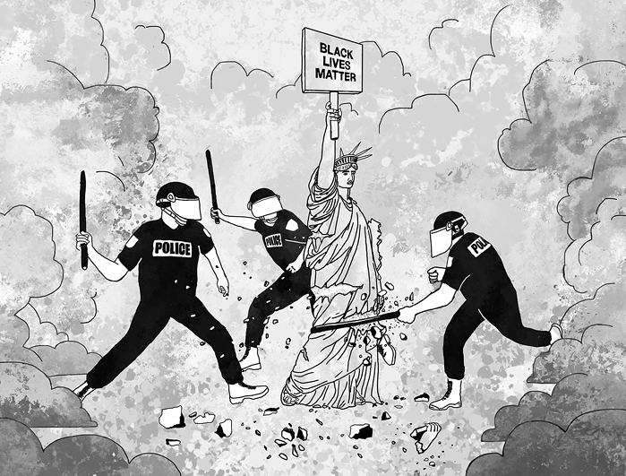 Police attack Statue of Liberty holding a Black Lives Matter sign