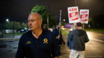 Rochester AFL-CIO President Dan Maloney leading a picket line as president of UAW Local 1097 during the GM strike in September of 2019