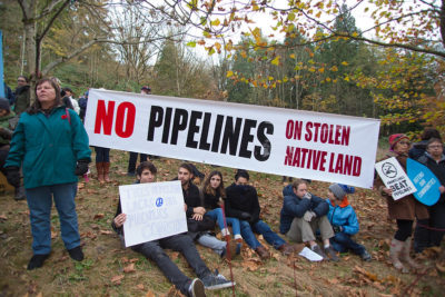 Rally against Kinder Morgan oil pipeline on Burnaby Mountain, Canada, 2014