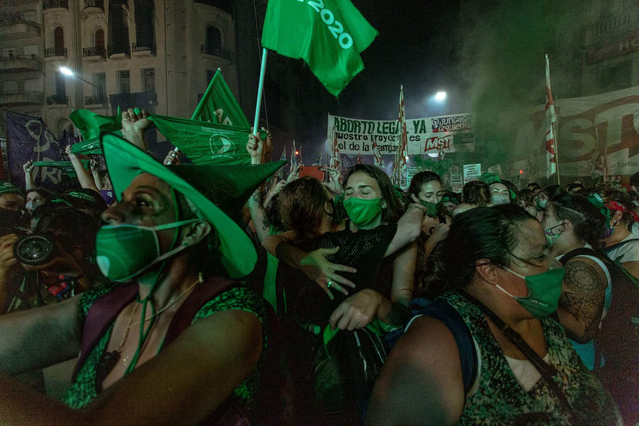 Celebrating the legalization of abortion, Buenos Aires, Dec 30, 2020.