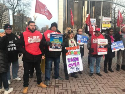 Canadian, Brazilian and U.S. autoworkers protest GM plant closings