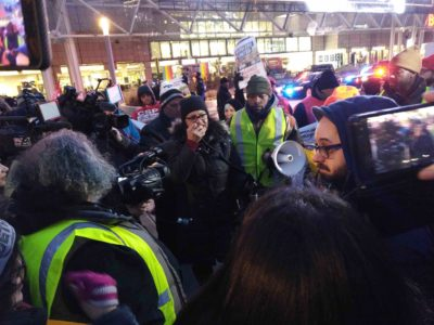 Congressperson Rashida Tlaib speaks to the rally