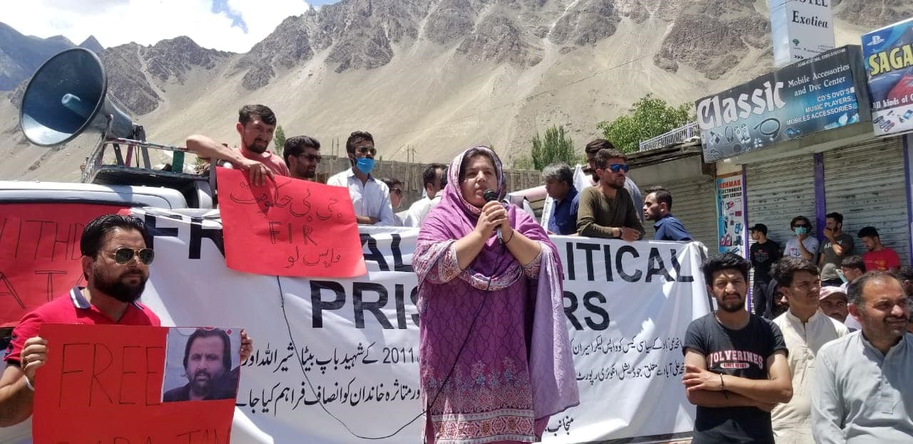 Baba Jan's sister Nazneen addressing the protesters at Aliabad Hunza