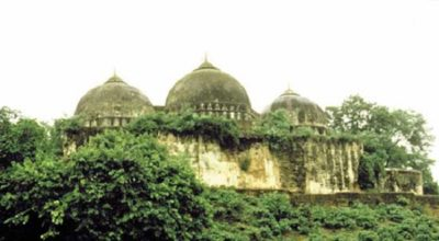 The Babri Masjid (Mosque of Babur) before it was destroyed by Hindu supremacists in 1992