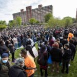 Thousands of people gathered at Franklin Park in Boston on June 2 to protest police brutality and racism in the wake of the killing of George Floyd in Minneapolis.