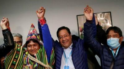 Luís Arce and MAS supporters celebrate election victory, October 19, 2020