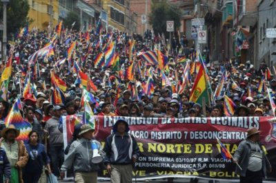 Supporters of Bolivian President Evo Morales protest the new government
