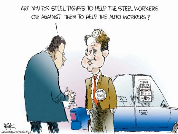 Are you for steel tariffs to help the steel workers or against them to help the auto workers?