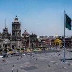 A deserted Plaza del Zócalo, Mexico City