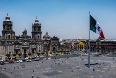 A deserted Plaza del Zócalo, Mexico City