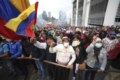 Anti-government demonstrators in Quito, Ecuador, October 8, 2019.
