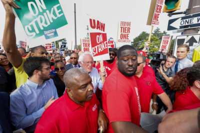 Bernie Sanders walks the picket line with striking United Auto Workers union members as they picket at the General Motors Detroit-Hamtramck Assembly Plant on September 25, 2019 in Detroit, Michigan.