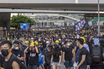 Hong Kong protesters take to the streets during a general strike in August 2019