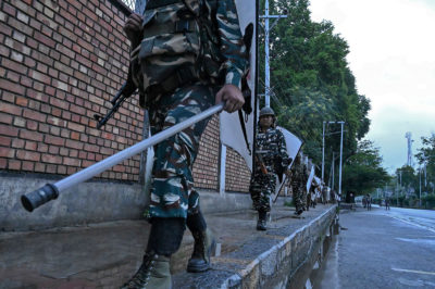 Indian soldiers on patrol during a military lockdown in Srinagar, Kashmir, August 10, 2019