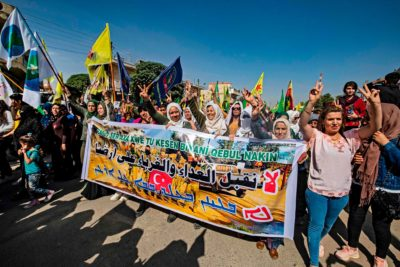 Kurds demonstrate against Turkish threats in Ras al Ain, October 9, 2019.