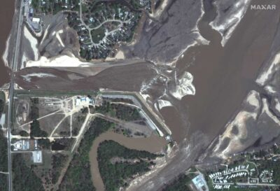 Edenville dam failure floods Midland, Michigan. (Credit: Maxar Technologies)