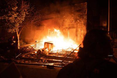 Minneapolis Police 3rd Precinct building burning, May 28, 2020