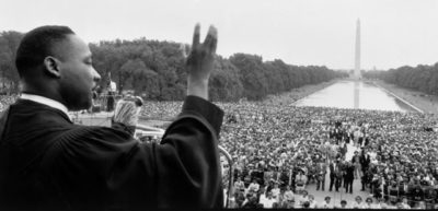 """At the Lincoln Memorial in Washington, D.C., Martin Luther King, Jr., delivers his first national address, """"Give Us The Ballot,"""" on May 17, 1957"""