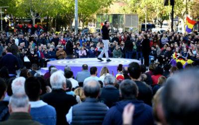 Podemos leader Pablo Iglesias speaking in Barcelona