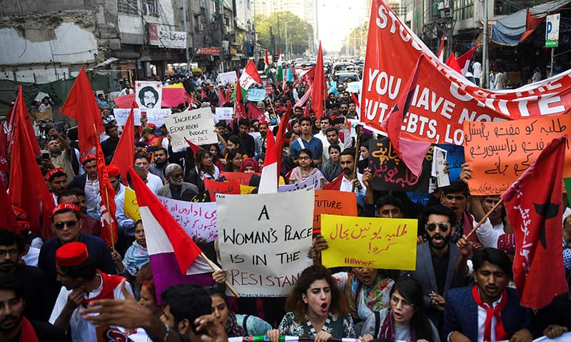 Protest demanding reinstatement of student unions, education fee cuts and better education facilities, Karachi, November 29, 2019
