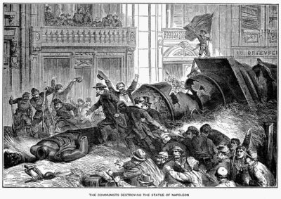 The Paris Commune, the first attempt at a workers' republic, destroyed Napoleon's monument to war, 1871