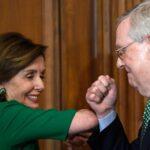 House Speaker Nancy Pelosi, Democrat, and Senate majority leader Mitch McConnell, Republican bump elbows in Washington, March 12, 2020.