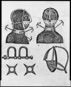 Iron mask, collar, leg shackles and spurs used to restrict slaves, print from 1807