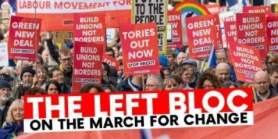 "The Left Bloc for the ""No to Boris — Yes to Europe"" march on July 20, 2019"