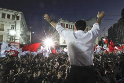 Alexis Tsipras at an election rally in Athens before Syriza's January 2015 victory