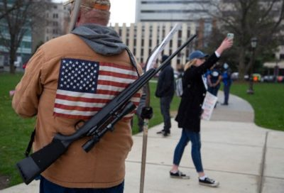 Trumpsters protest Covid-19 stay-at-home order in Lansing, Michigan. April 15, 2020.